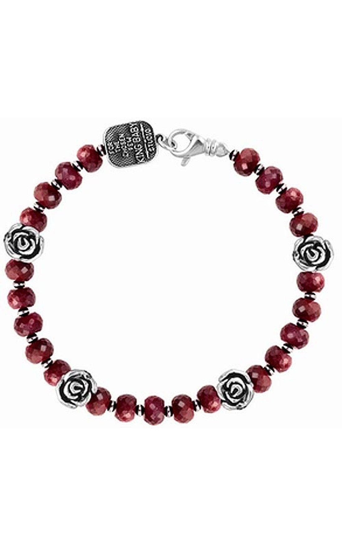 King Baby - Ruby Bracelet With 4 Silver Roses (K42-5706)
