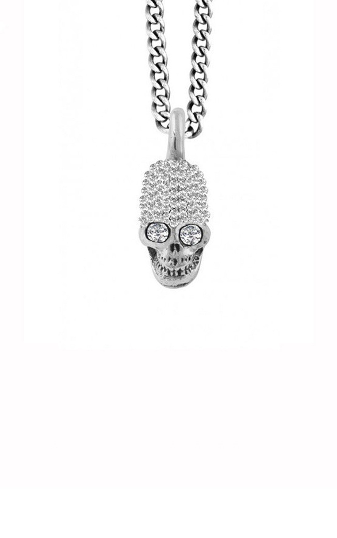 King Baby - Small Skull Pendant Pave Cz  (K10-9077)
