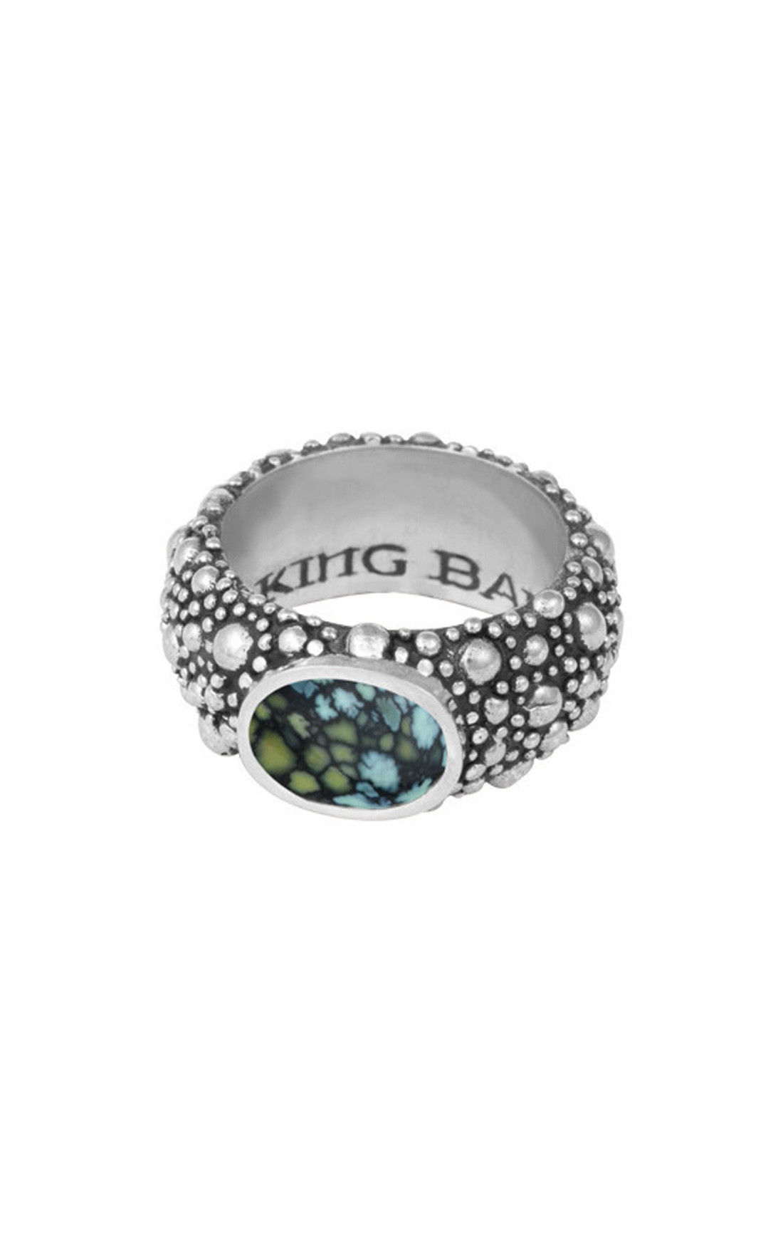 King Baby - Stingray Texture Ring with Top Hat Spotted Turquoise  (K20-5875)