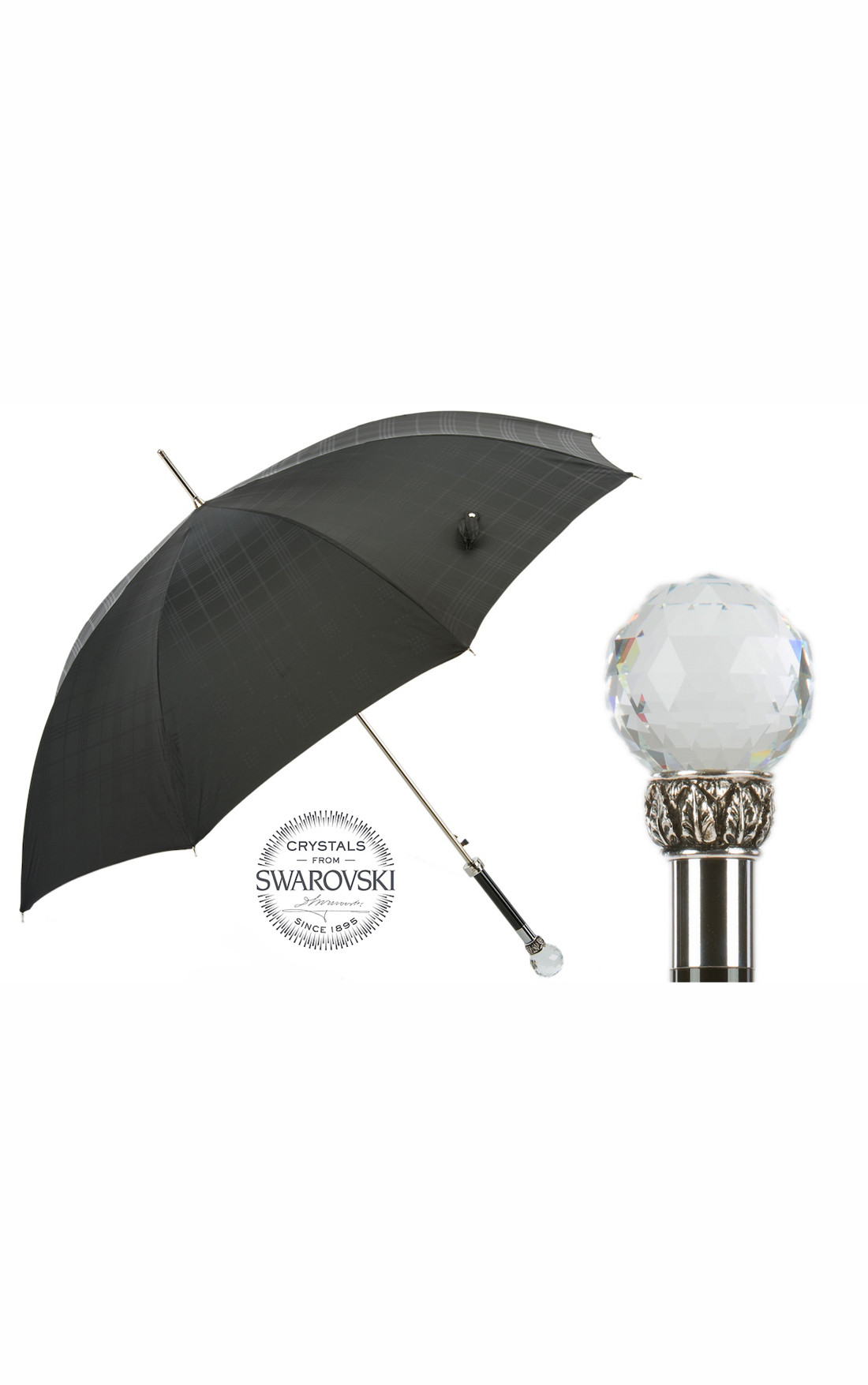 Pasotti - Black Check Umbrella with Large Swarovski Crystal Handle (478-6434/19-W01-NERO)