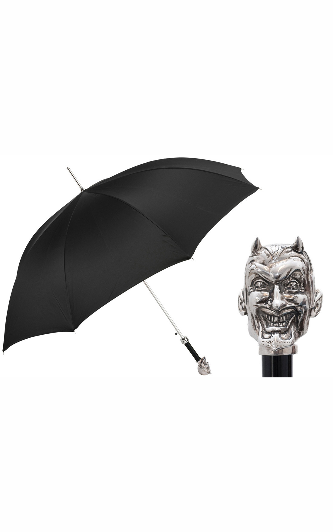 Pasotti - Black Umbrella with Silver Lucifer (478-OXFORD/18-K77-LUCIFER-NICKEL)