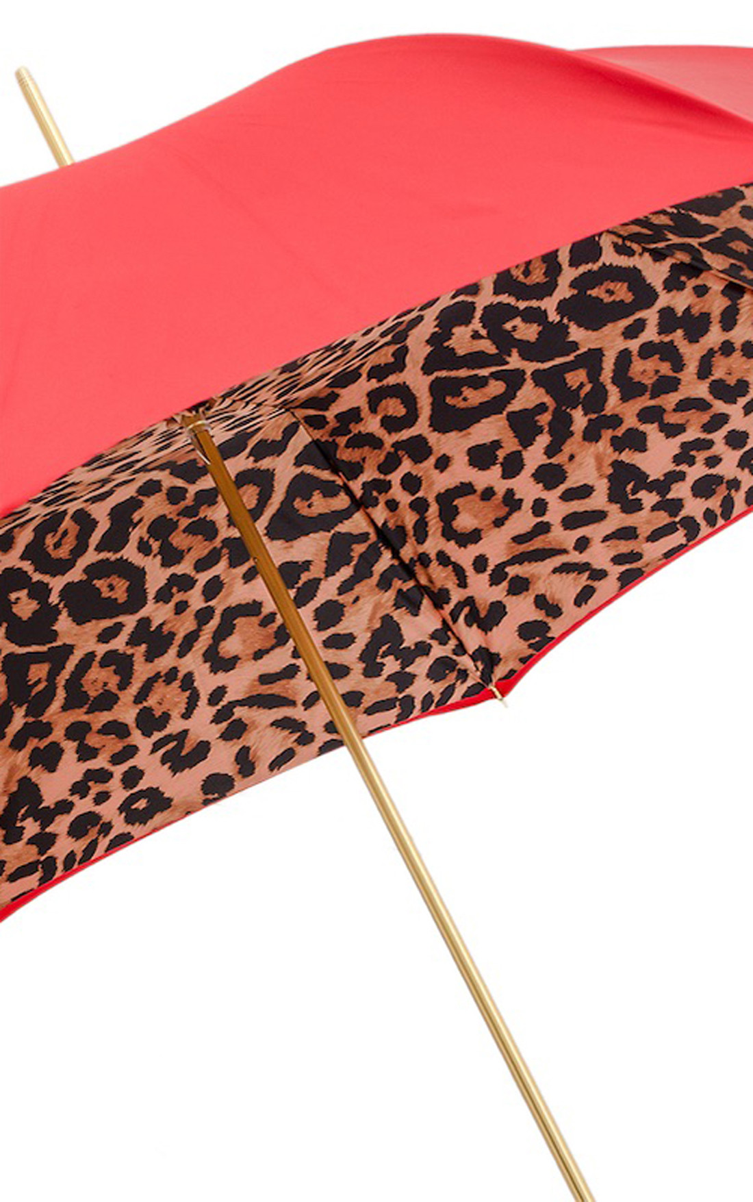 Pasotti - Red Umbrella with Leopard Print Lining (189-RASO5A488/92-T9-ORO-ROSSO)