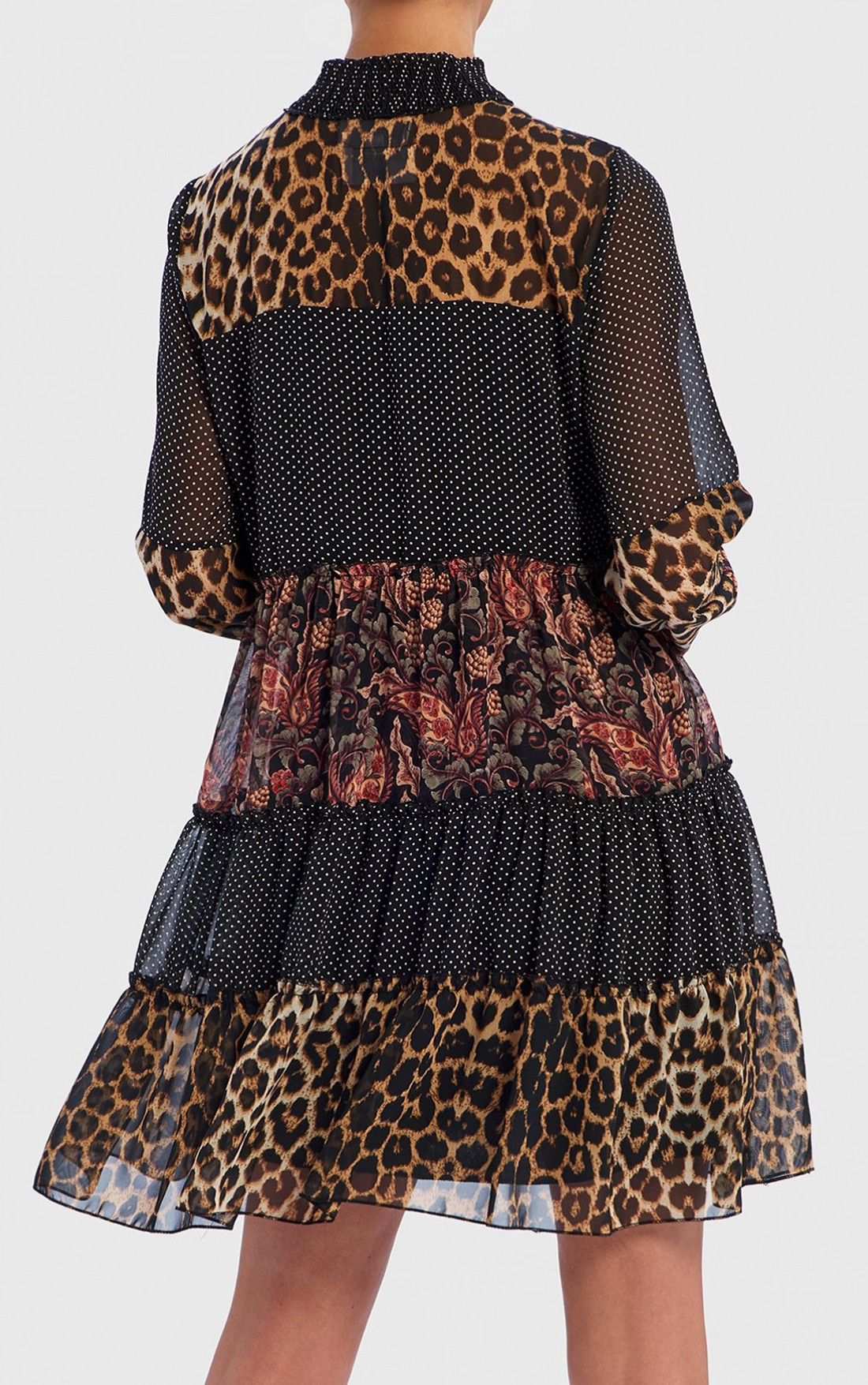 Forever Unique - Vivian Leopard Print And Floral Contrast Long Sleeve Shift Dress (TJ9702)