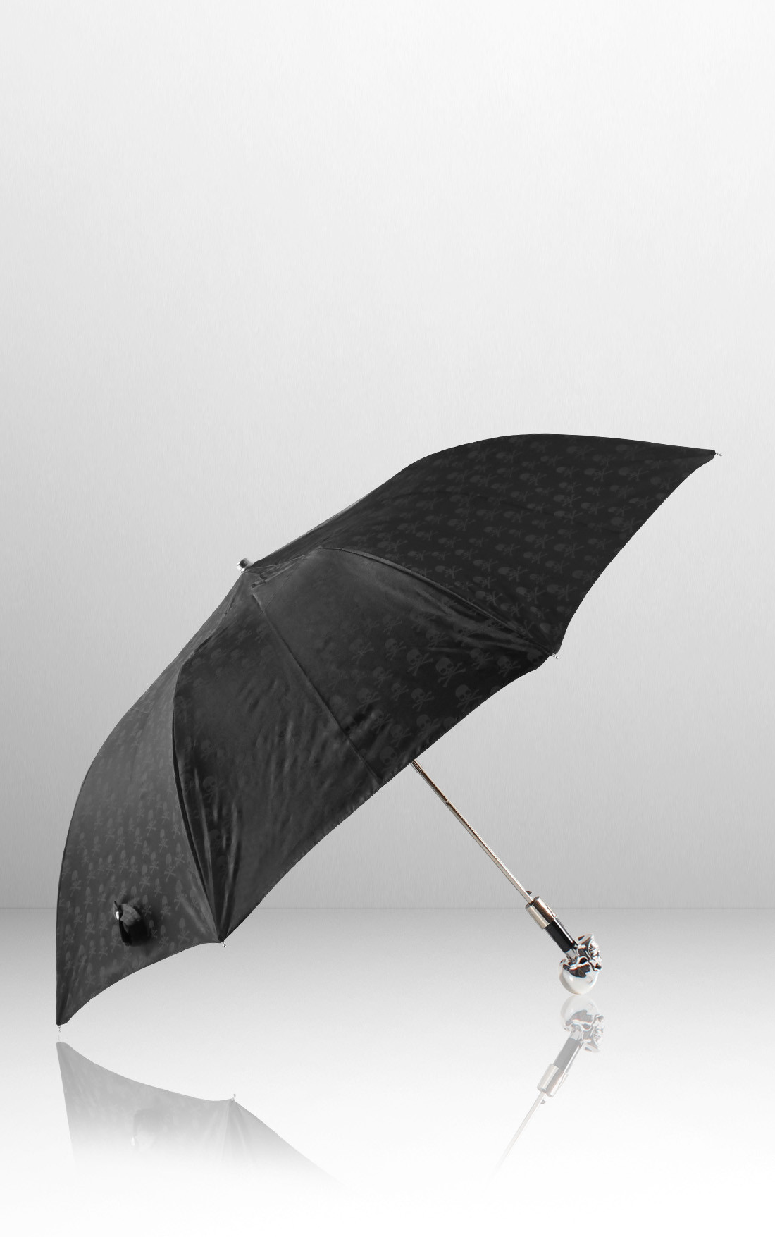 Pasotti - Silver Skull Folding Umbrella (478-RASO-OXFORD/18-W33)
