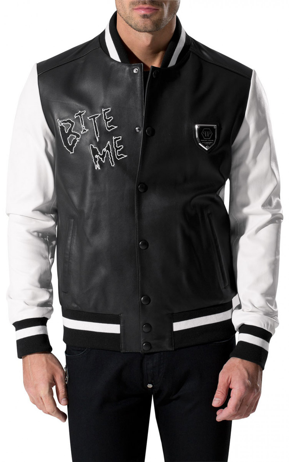 philipp plein leather jackets mens shark leather jacket. Black Bedroom Furniture Sets. Home Design Ideas