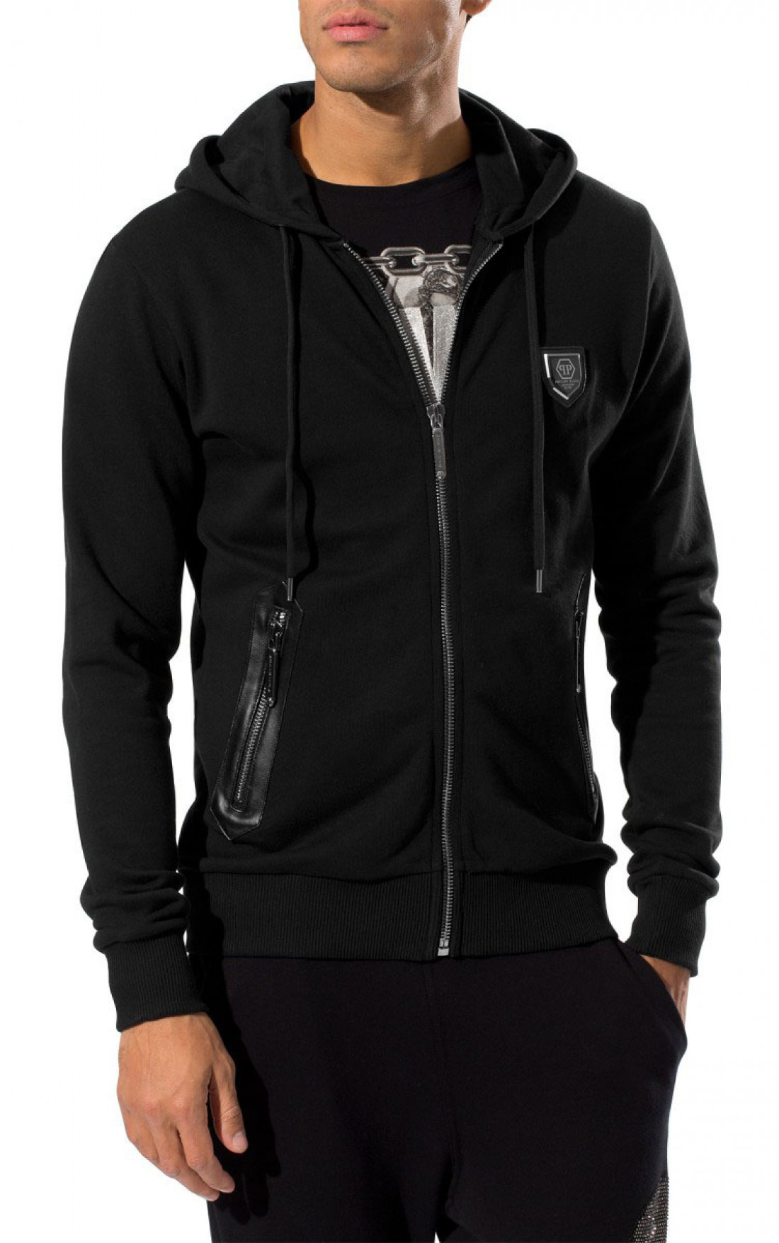 philipp plein hoodie mens black sly hoodie mens hoodies online boudi fashion ss15 hm666090. Black Bedroom Furniture Sets. Home Design Ideas