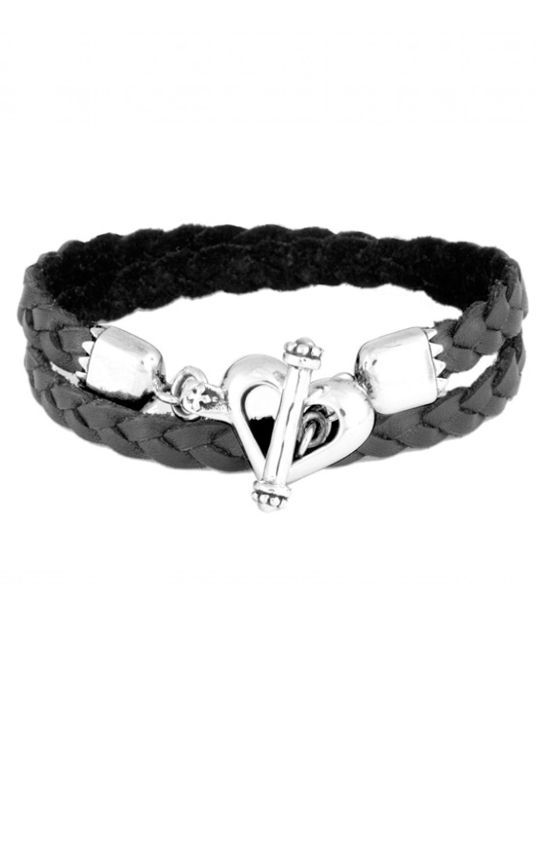 King Baby - Double Wrap Leather Bracelet with Heart Toggle Clasp (Q42-5165)