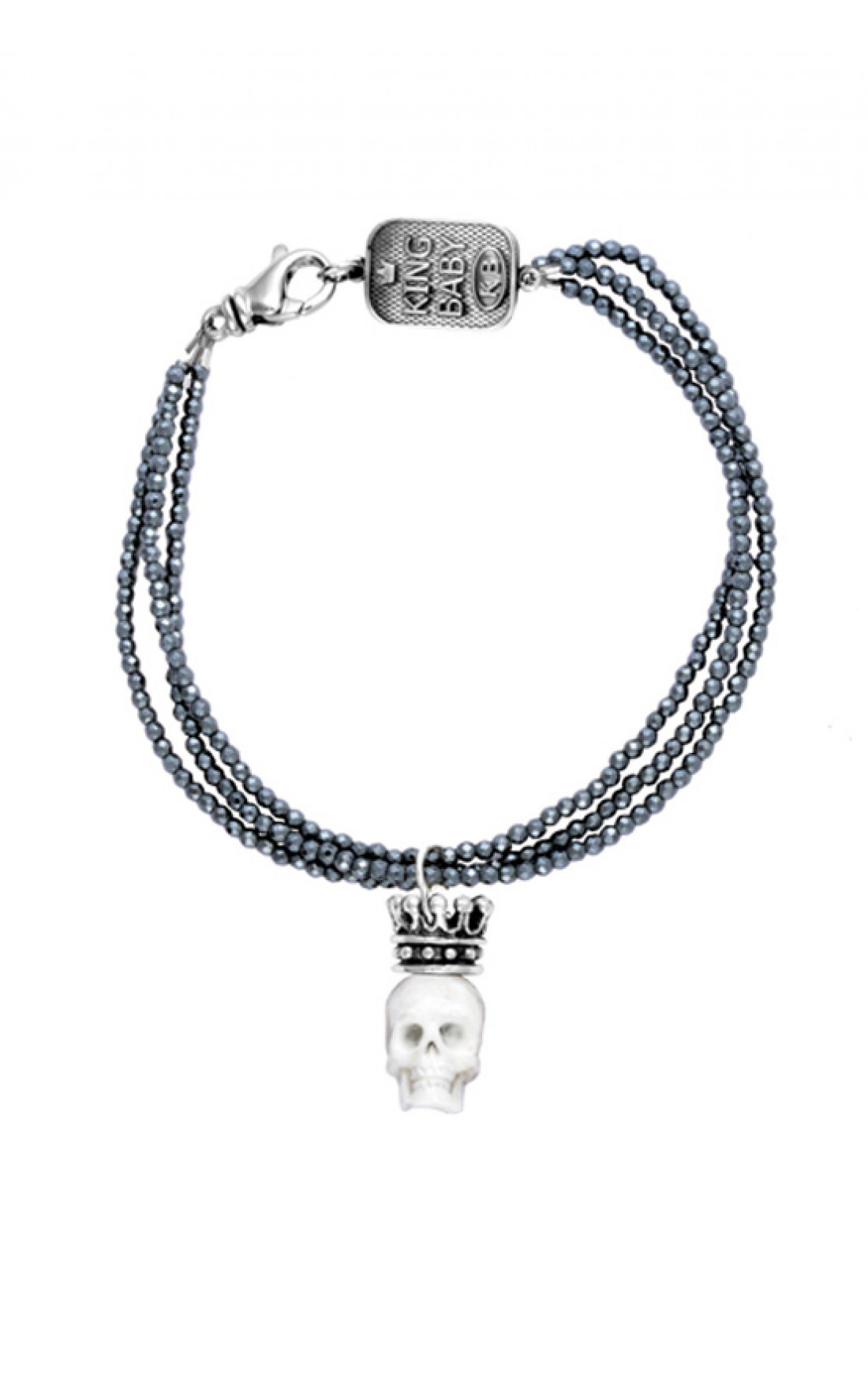 Queen Baby - Three Strand Hematite Bracelet with Crowned Bone Skull (Q42-5163)