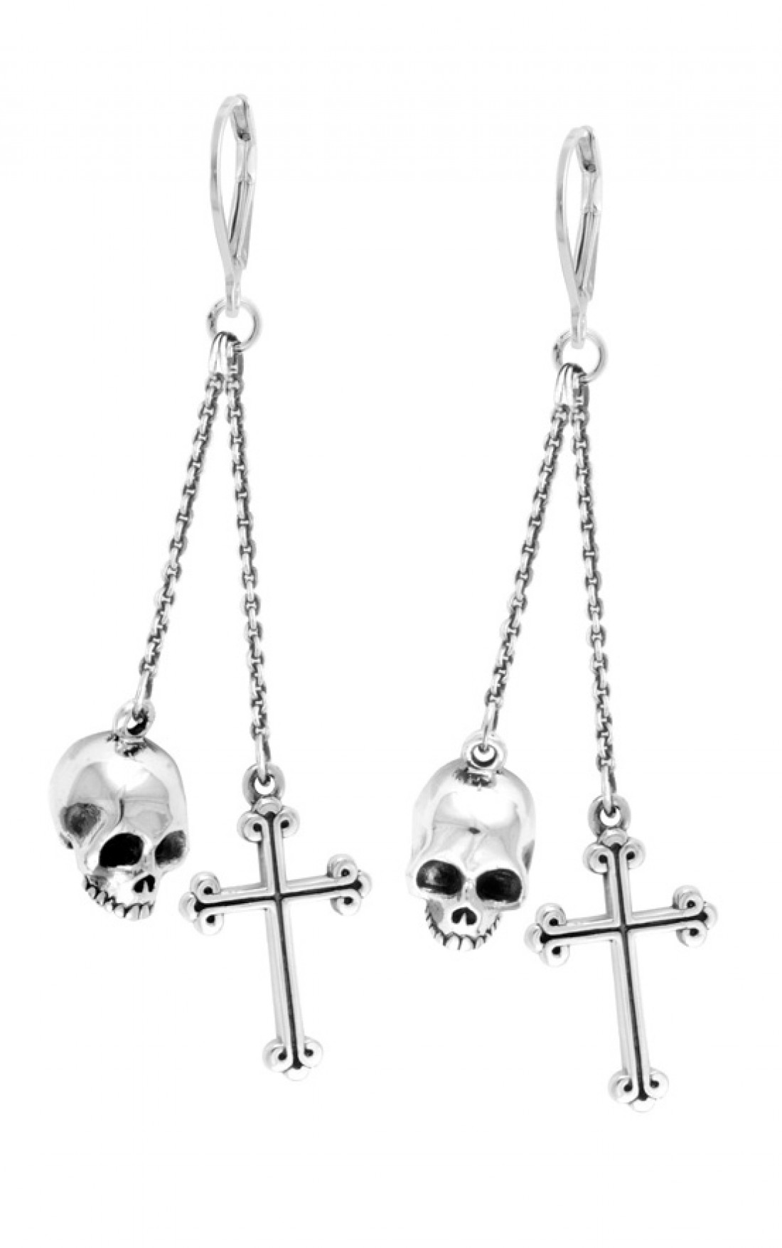 King Baby - Skull and Traditional Cross Drop Earrings (Q60-556)