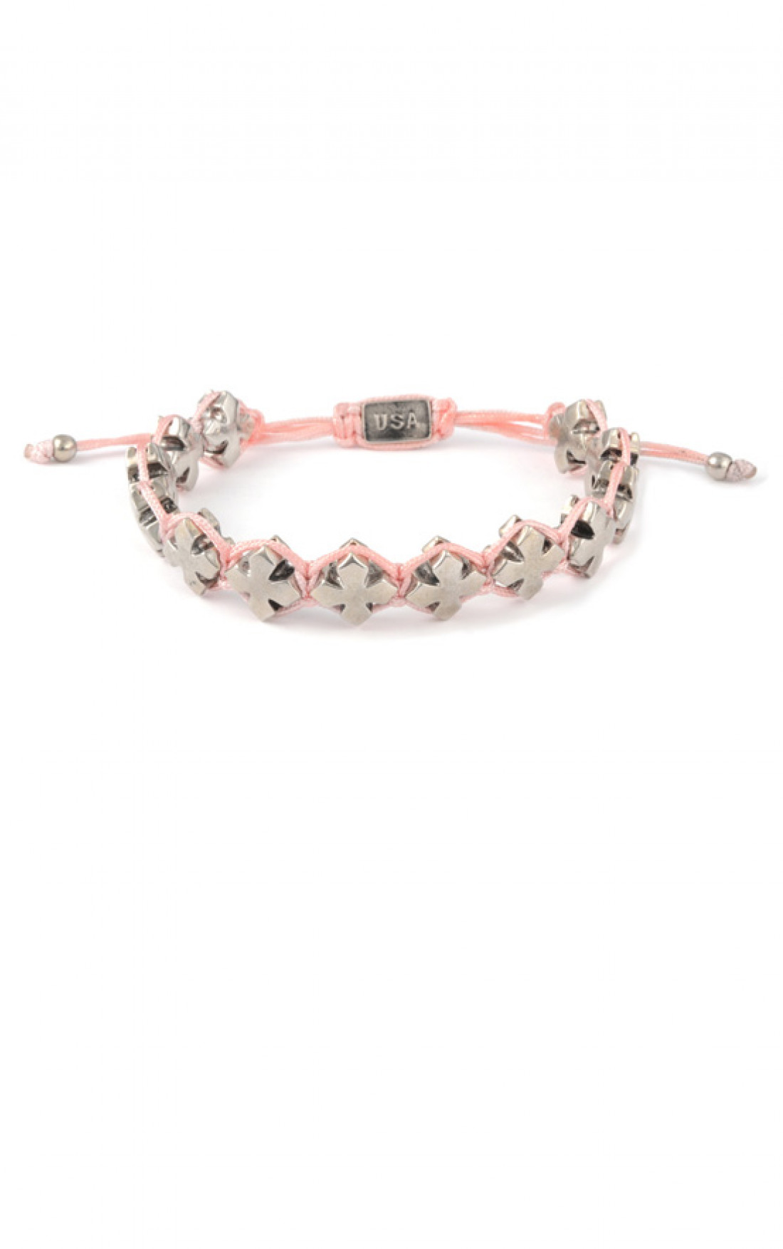 King Baby - Pink Macrame Bracelet With Alloy MB Crosses (Q42-8196)