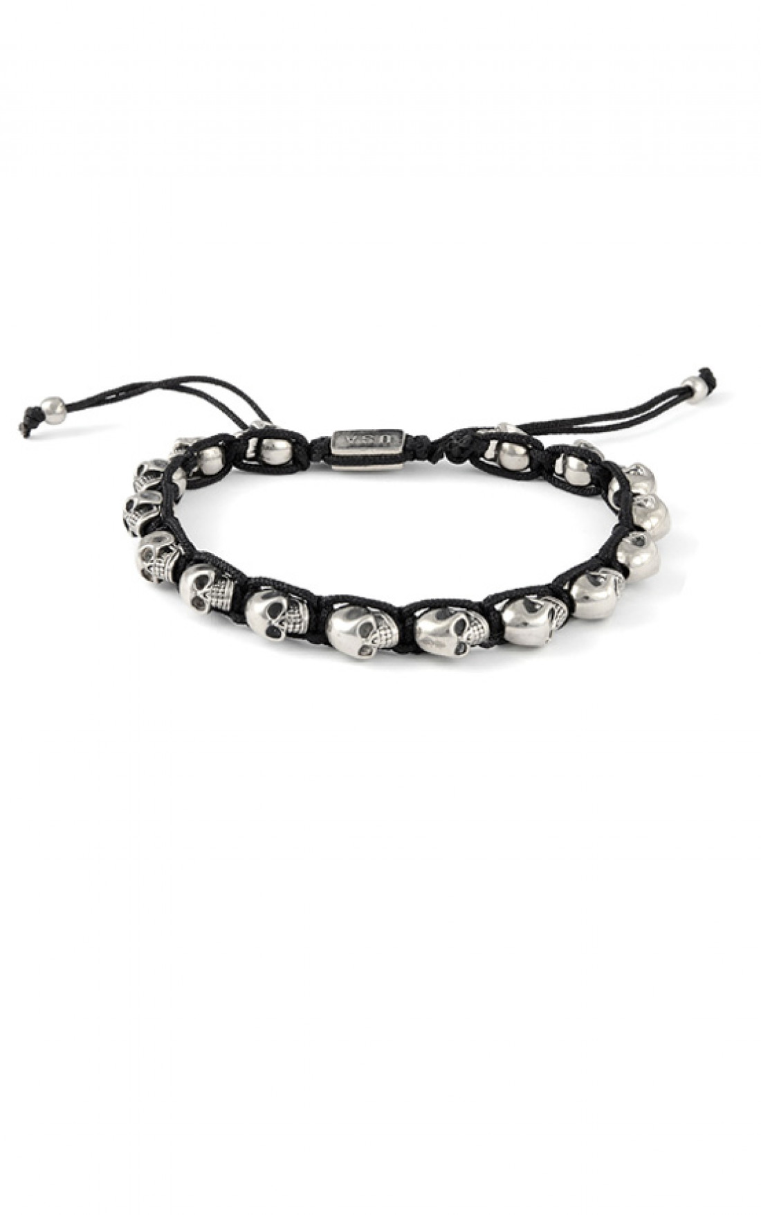 King Baby - Black Macrame Bracelet with Alloy Skulls (Q42-8184)