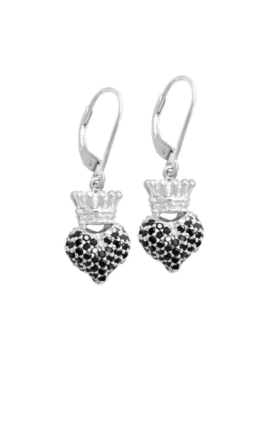 King Baby - Black Cz 3D Crowned Heart Earrings (Q60-8020)