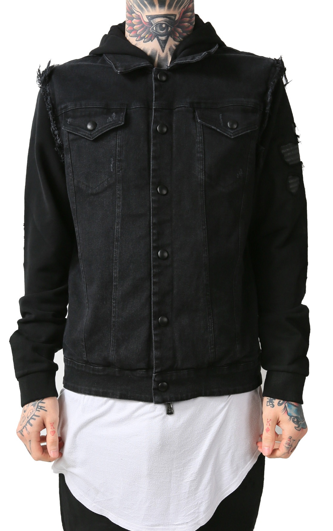 RH45 - Black Denim Jacket with Fleece (J602)