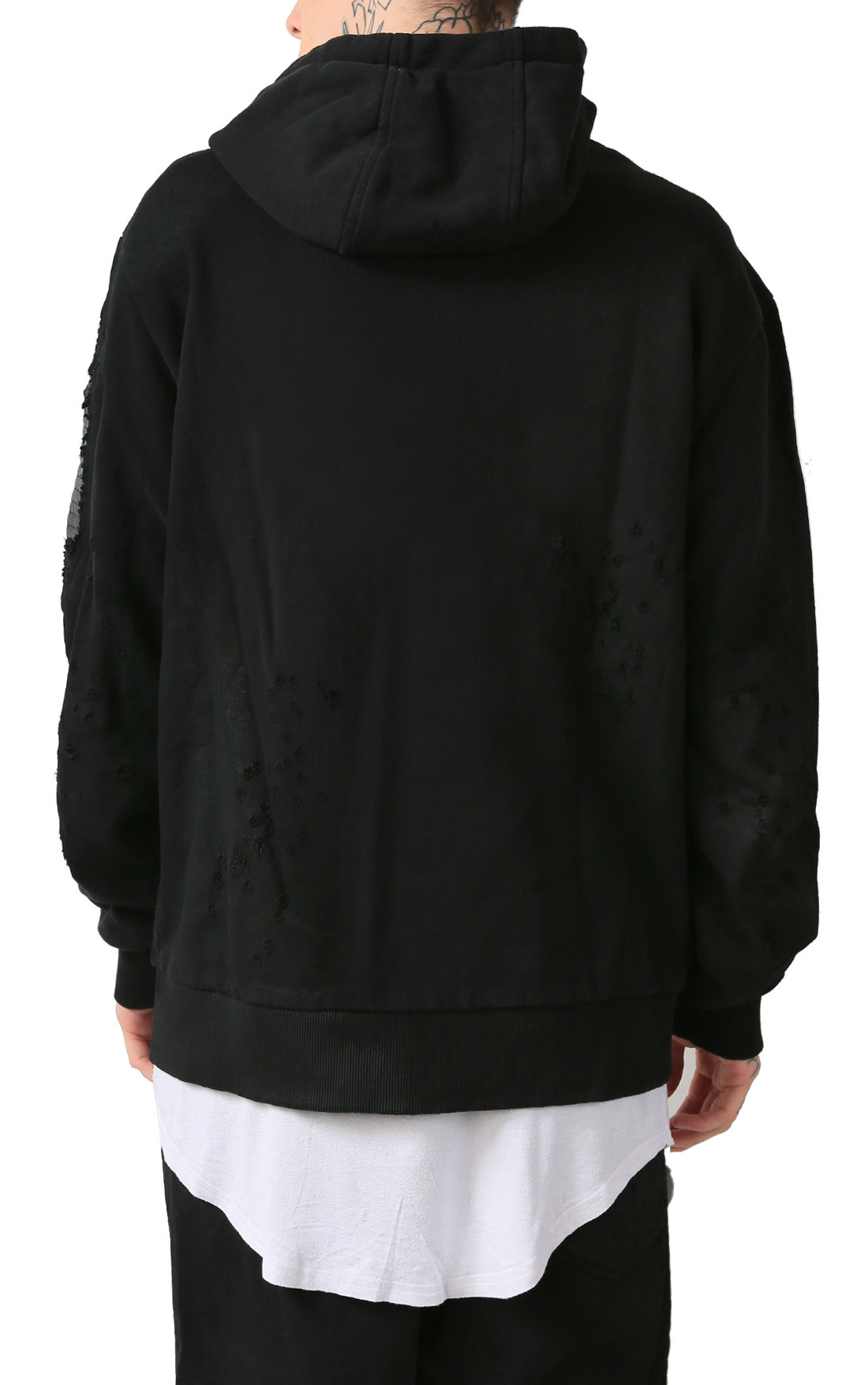 RH45 - Black Hoodie with Print and Leather Detail (H200)