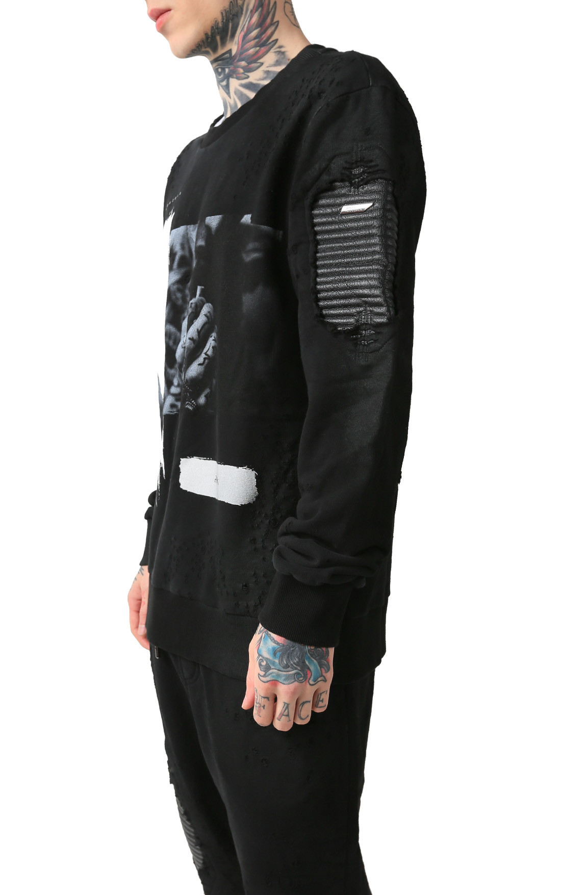 RH45 - Black Jumper with Print and Leather Detail (H101-1)