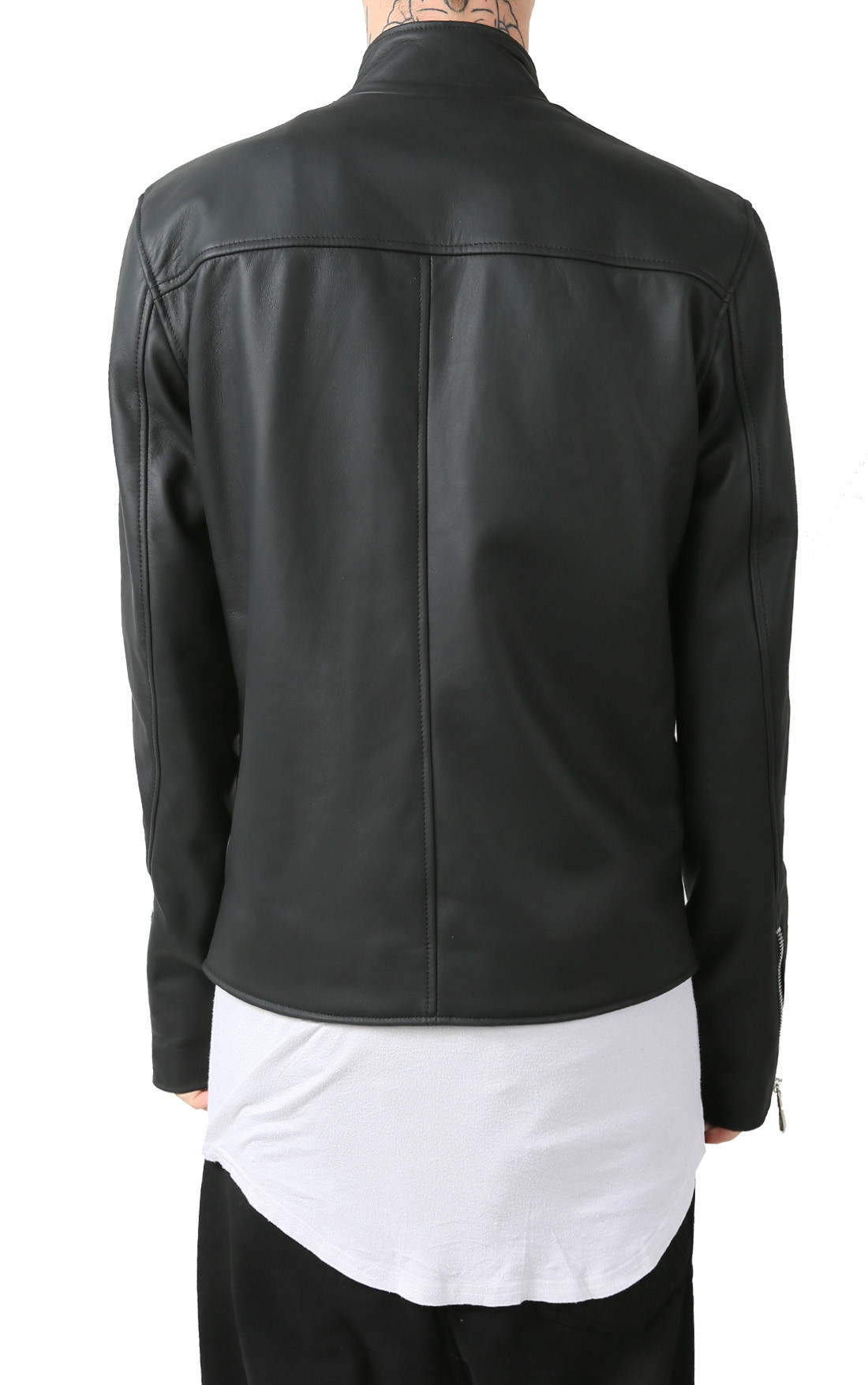 RH45 - Black Leather Jacket with Three Zip Detail (J700)