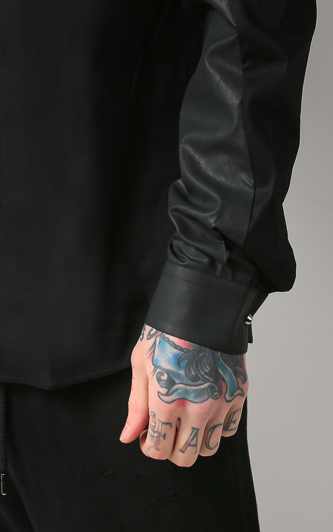 RH45 - Black Shirt with Twisted Sleeve Stretch Fabric (S201)
