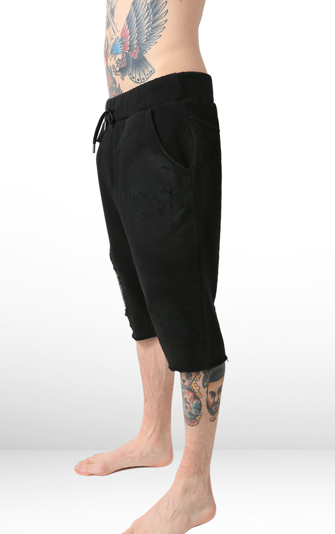 RH45 - Black Shorts with Leather Detail (P405)