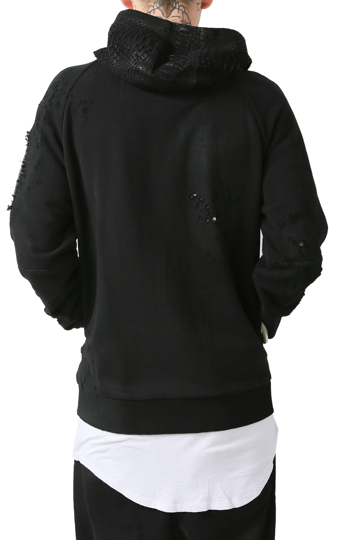 RH45 - Black Sweatjacket with Python Hood (H203)
