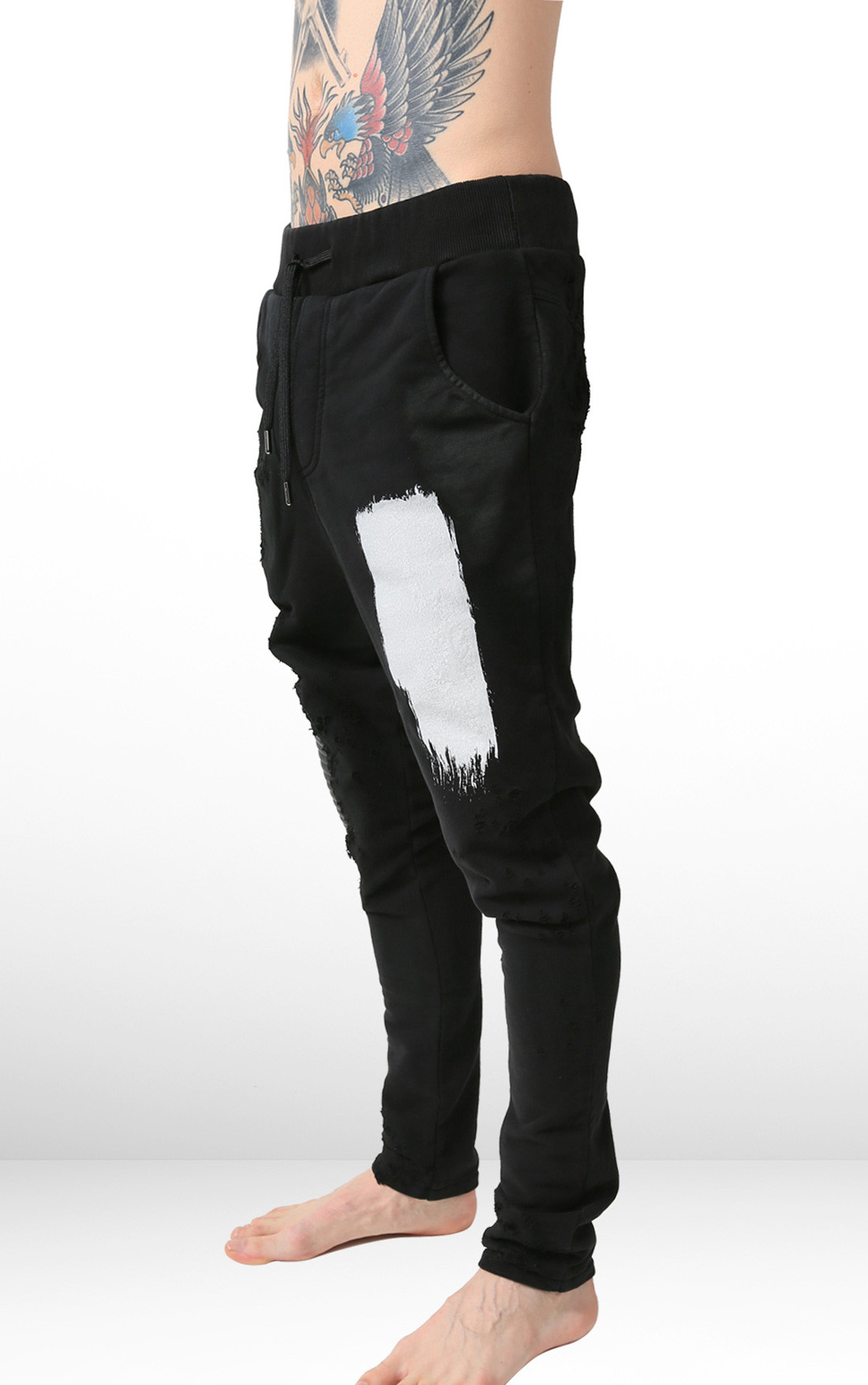 RH45 - Black Sweatpants with Paint and Leather Detail (P402)