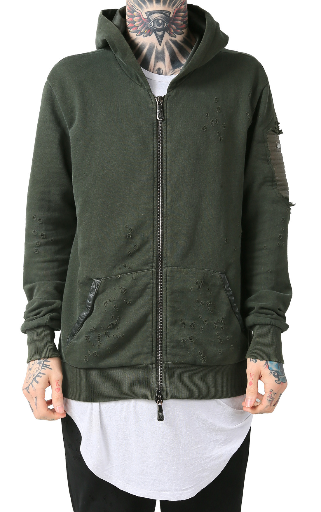 RH45 | Mens Green Hoodie with Leather | RH45 Hoodie Online | Boudi Fashion | H201