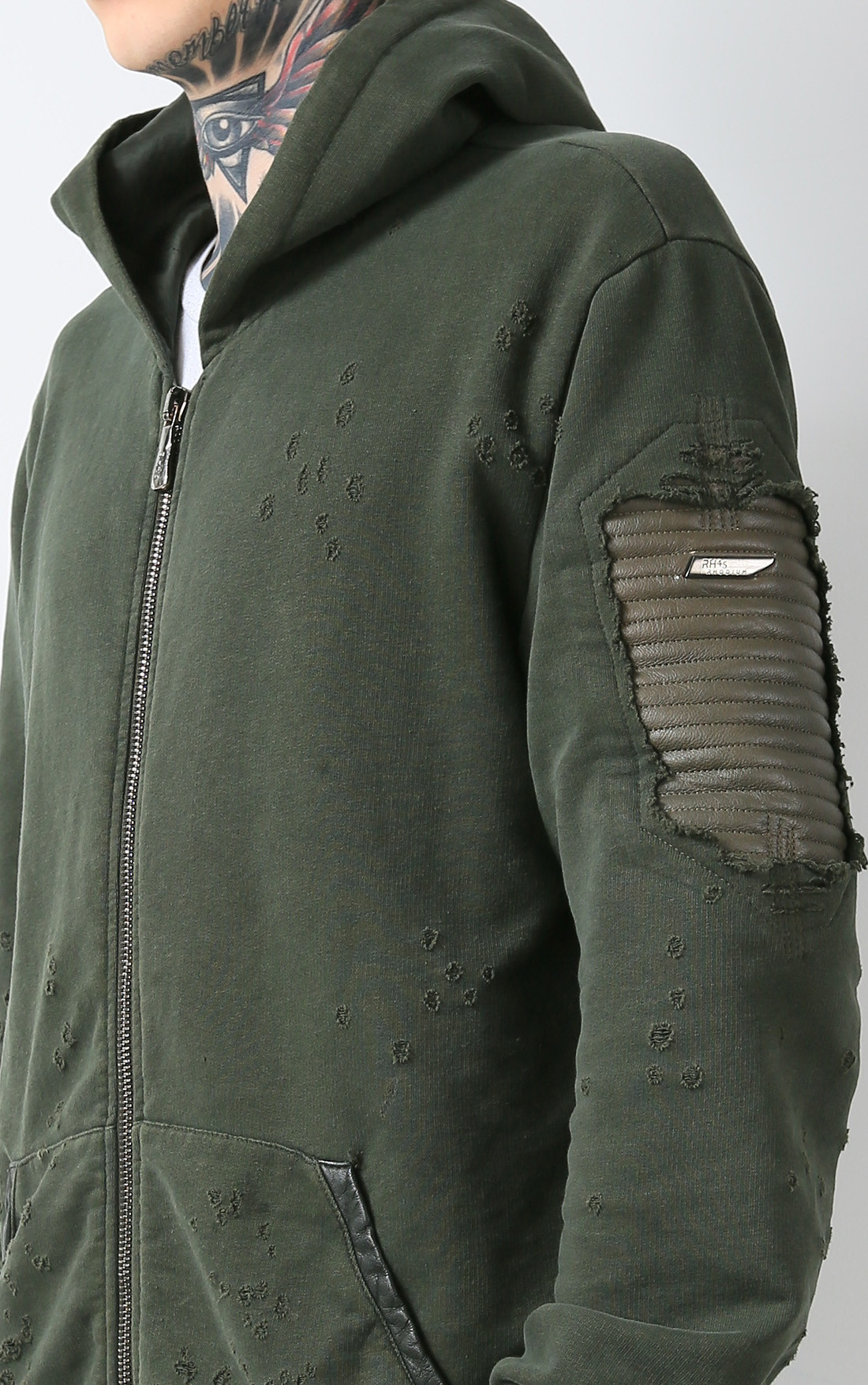 RH45 - Green Hoodie with Leather (H201)