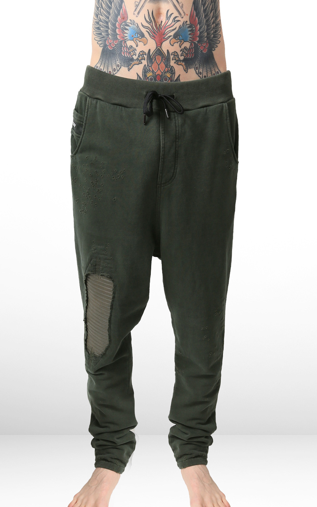 RH45 - Green Sweatpants with Leather (P401)