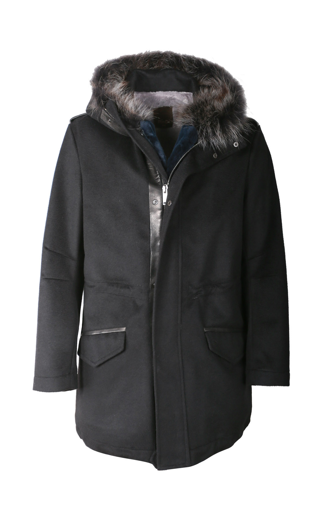RinDi - Black Cashmere Coat with Beaver Fur (003TE0U6)