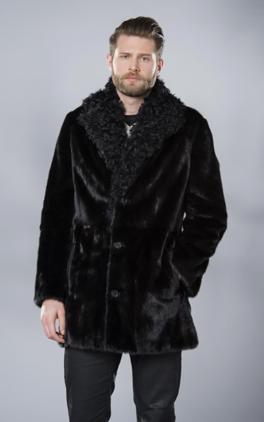 RinDi - Black Shearling Coat (007VFLU6)