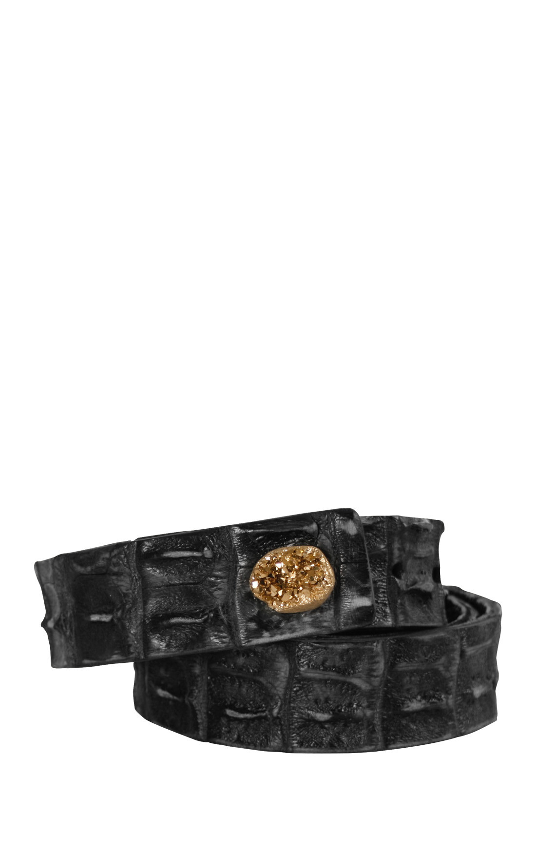 Scunzani Ivo - Black Crocodile Belt (9001gold)