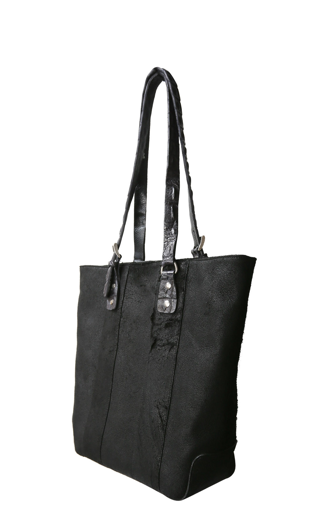 Scunzani Ivo - Black Leather Shopping Bag with Crocodile Trimming (B.SHOP.LAR)