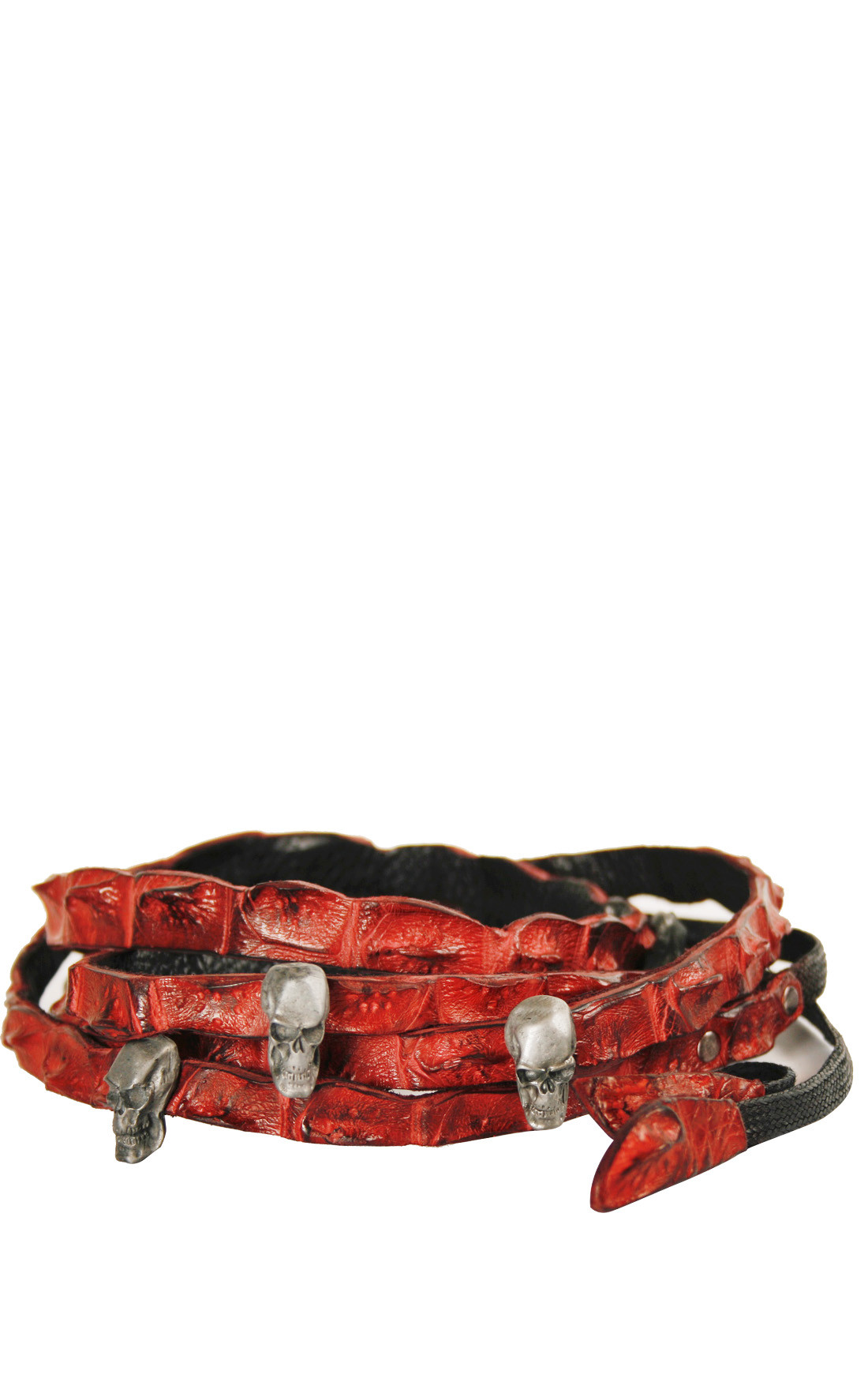 Scunzani Ivo - Red Crocodile Double Length Skull Belt (DBL.SKULL)