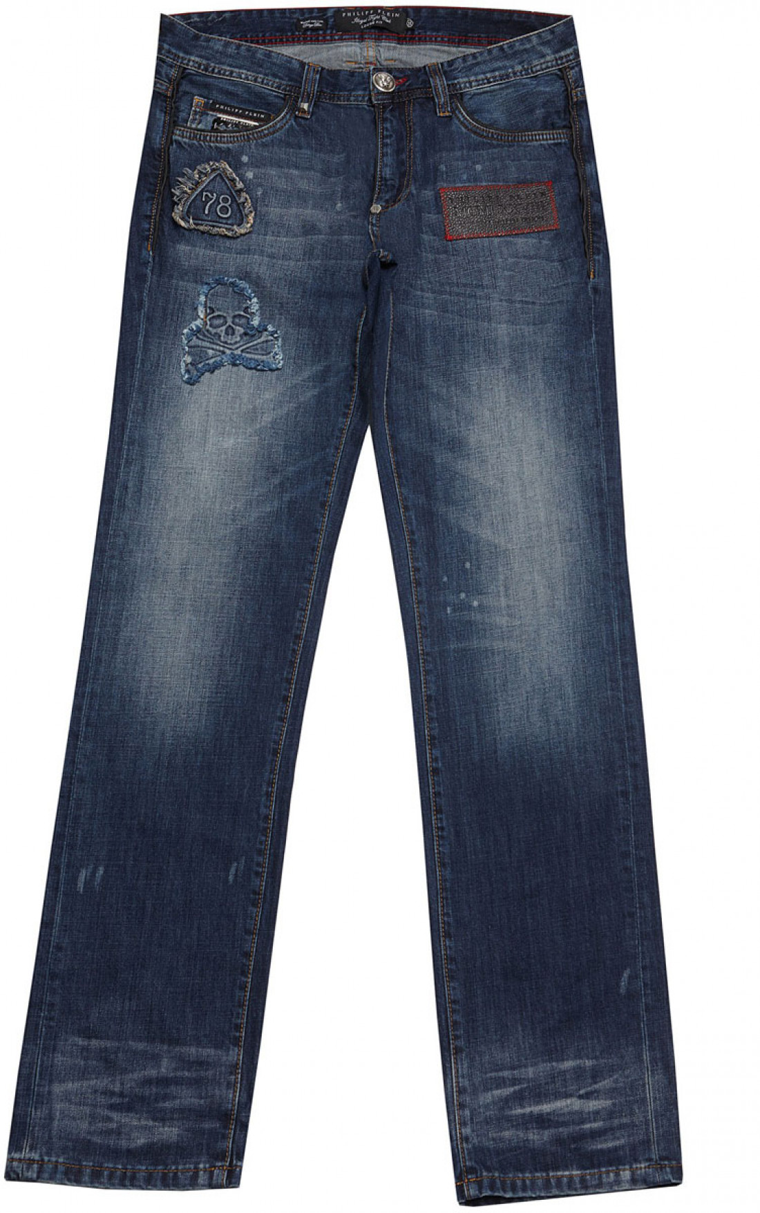 philipp plein 39 american skull 39 loose fit jeans blue mens jeans boudi fashion 98 new bond. Black Bedroom Furniture Sets. Home Design Ideas