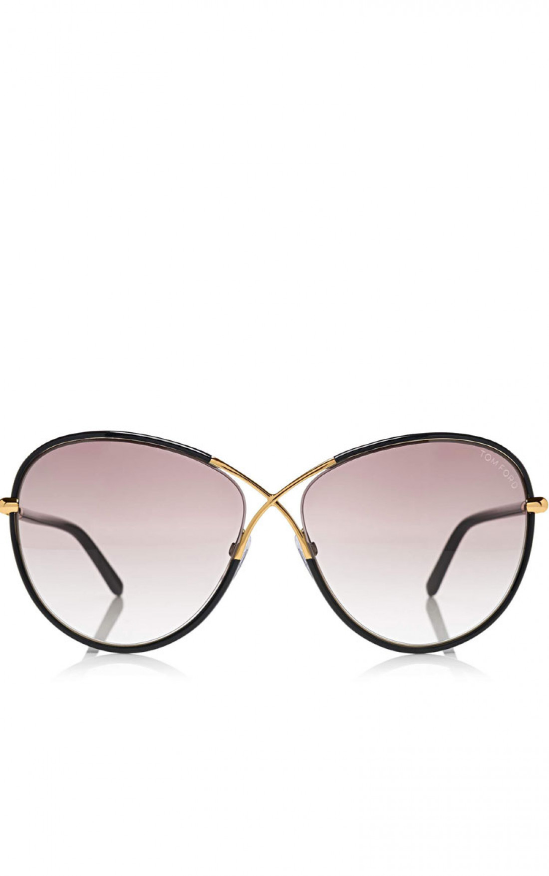 TOM FORD 'Rosie' Oversized Butterfly Sunglasses Black Front (FT0344)