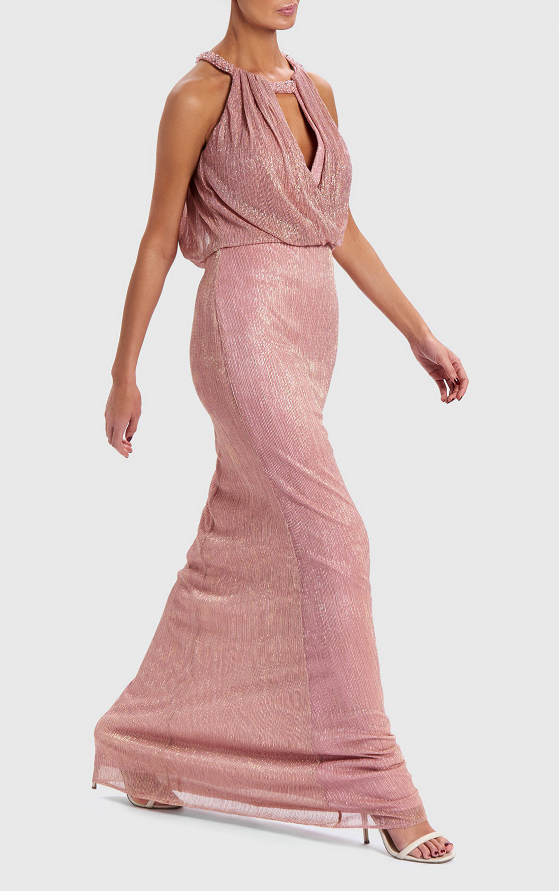 Forever Unique - Shimmer Nude Metallic Draped Maxi Dress (AB0922)