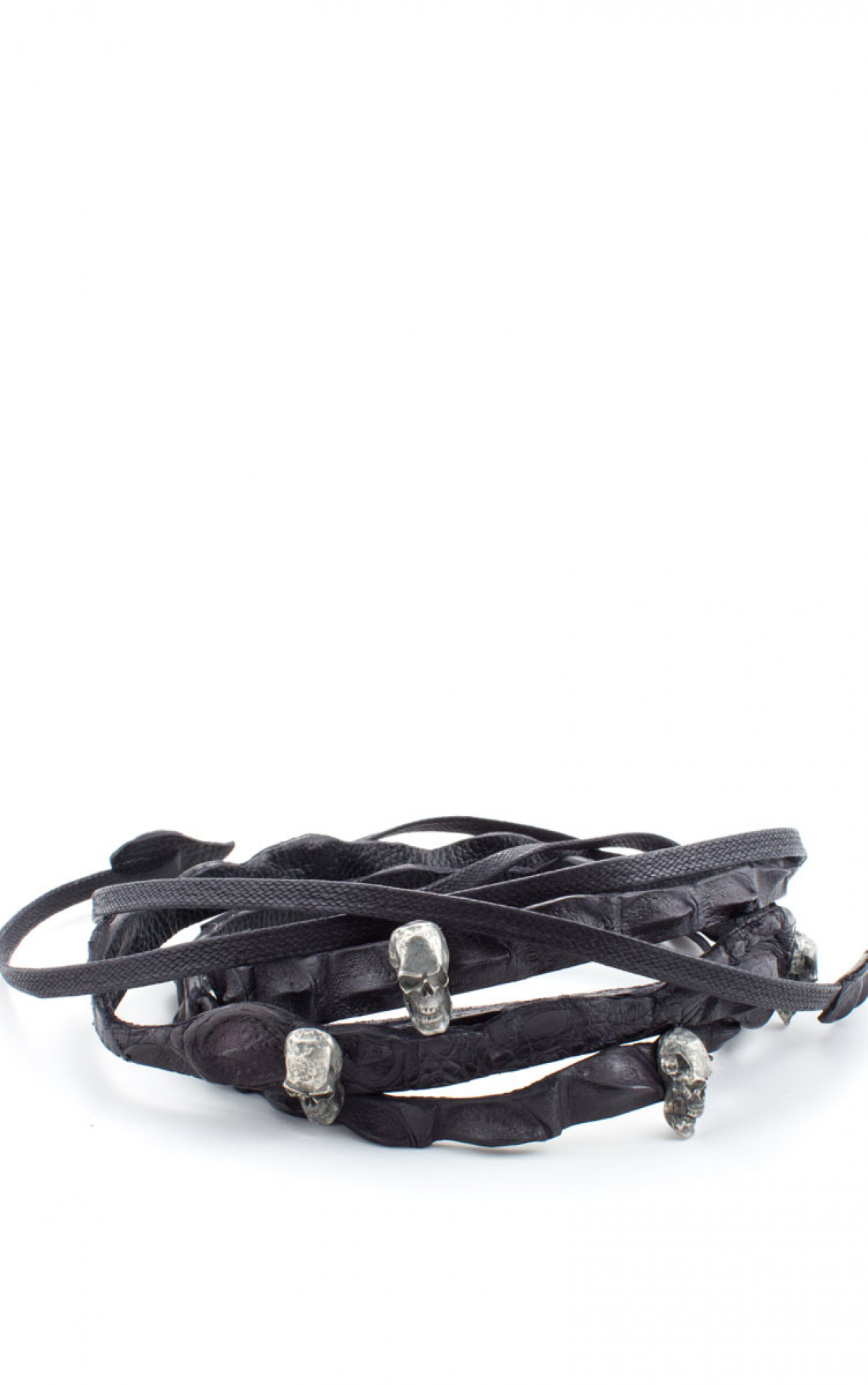 Scunzani Ivo - Black Crocodile Double Length Skull Belt (Dbl.Skull)