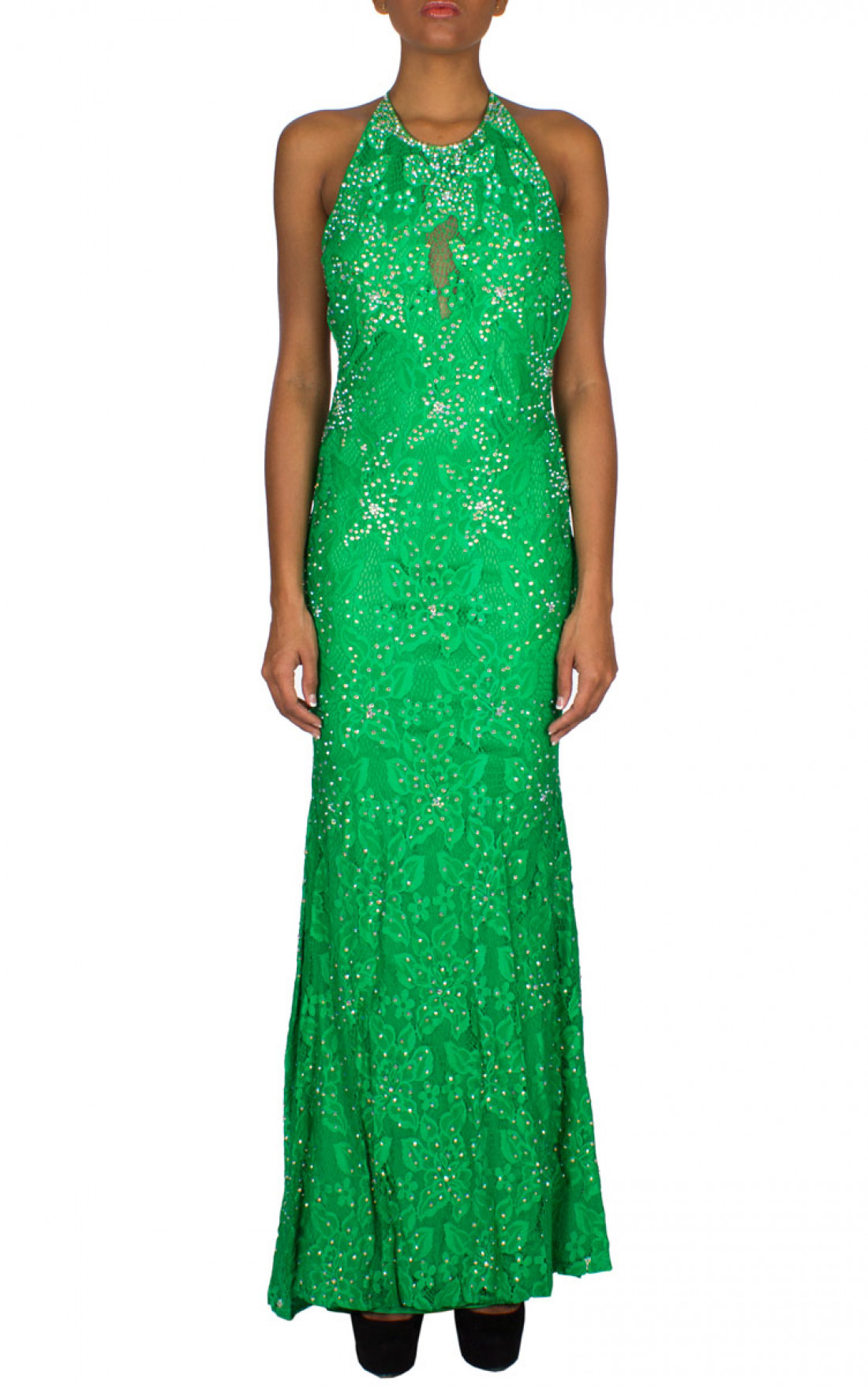 Jovani - 'Crystal Flower' Gown Emerald Front (93140A)
