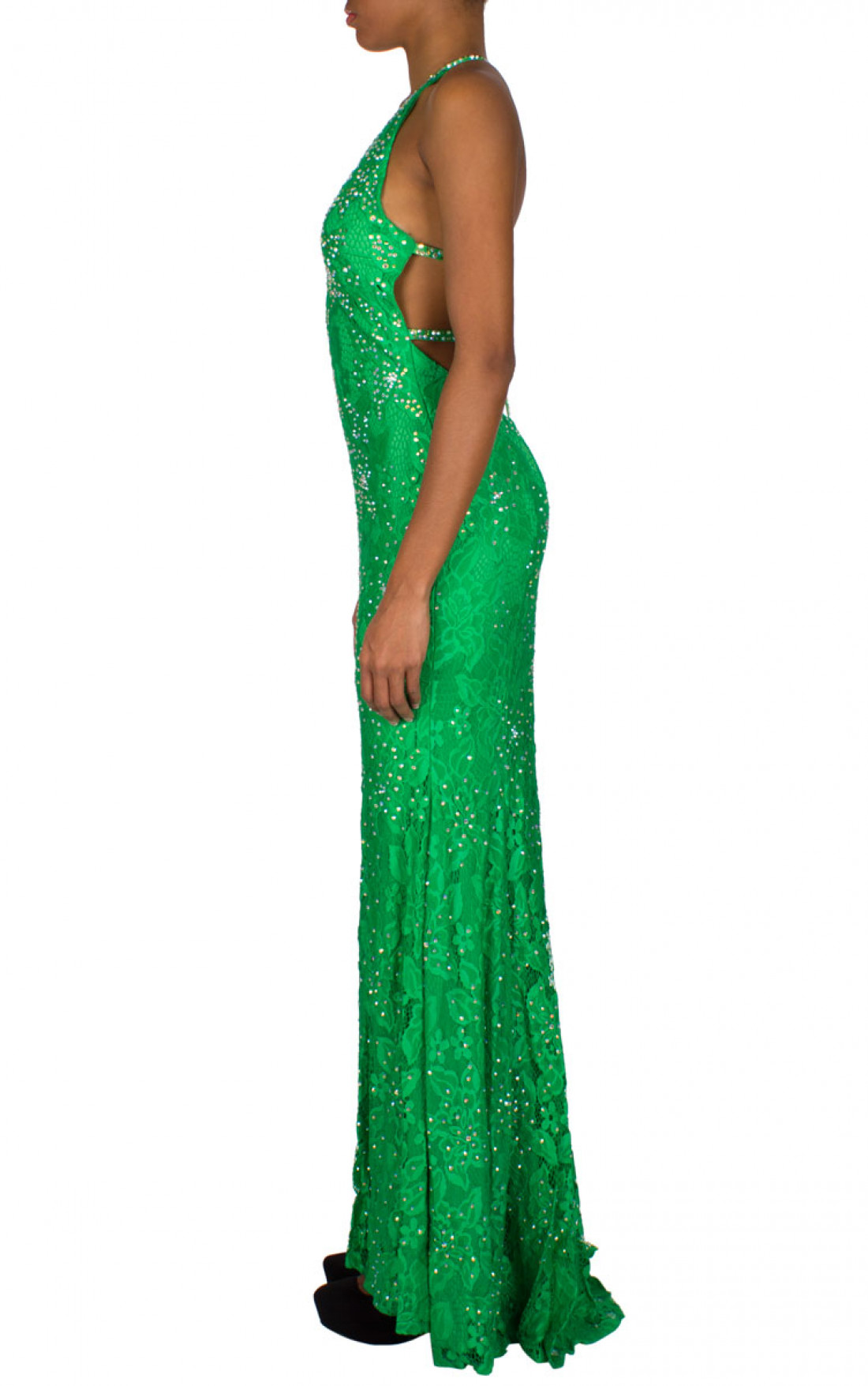 Jovani - 'Crystal Flower' Gown Emerald Side (93140A)