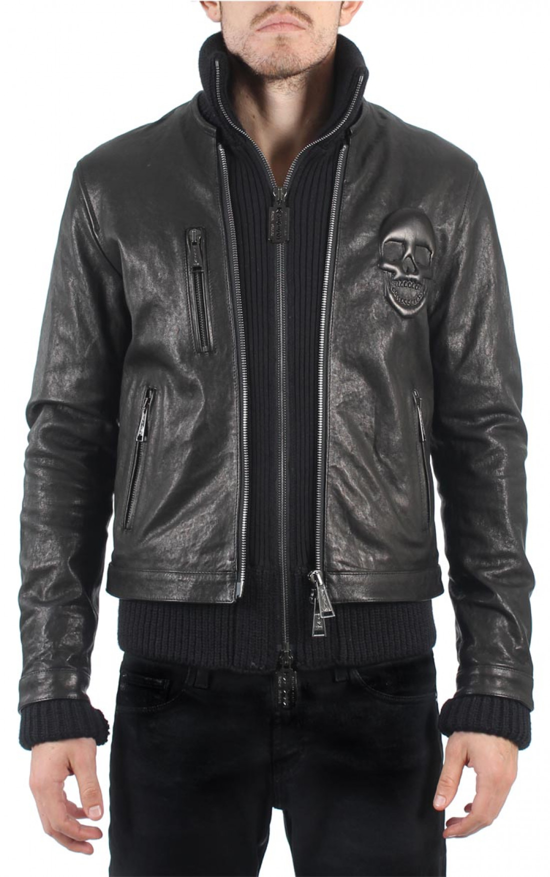philipp plein 39 professional 39 leather jacket boudi uk. Black Bedroom Furniture Sets. Home Design Ideas
