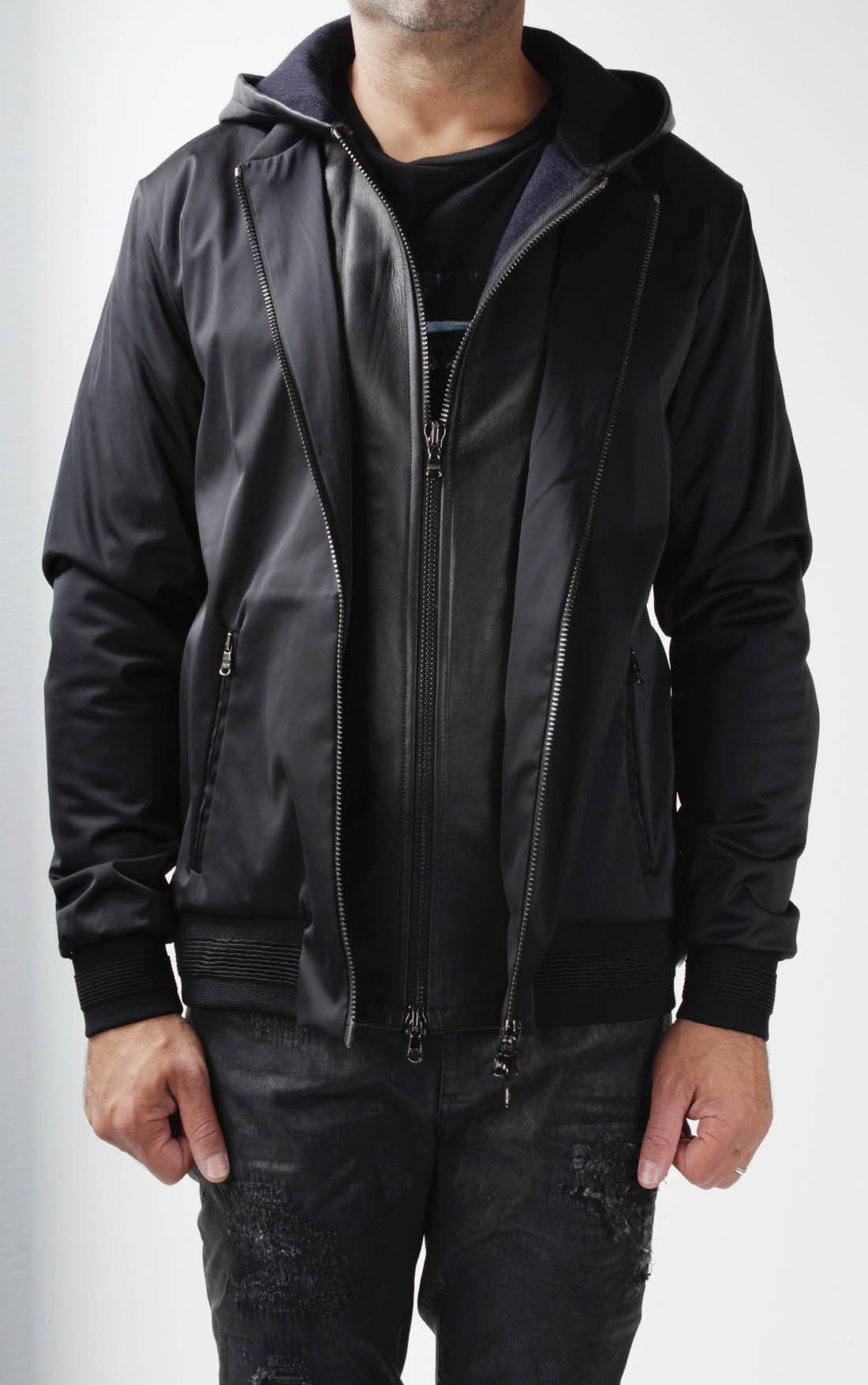 RH45 - Leather Hooded Bomber Jacket (BJ10)