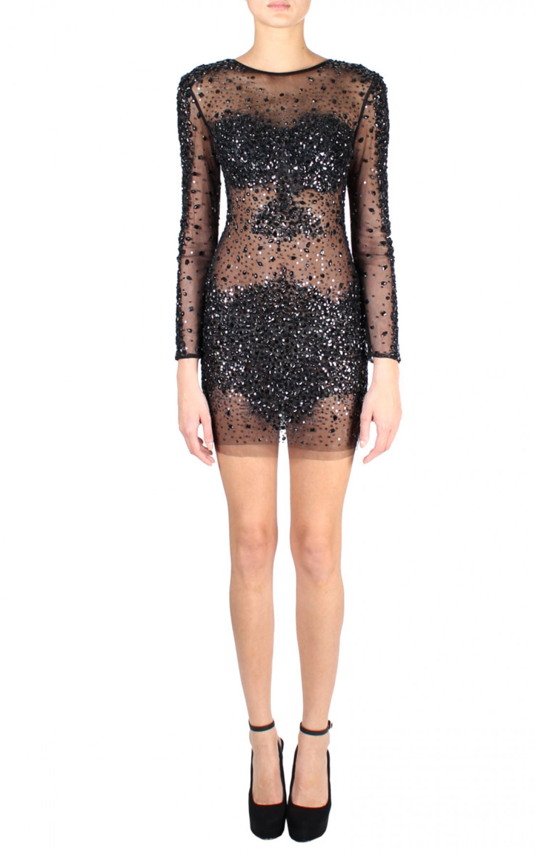 Jovani - Sheer Stone Embellished Short Dress Black Front (7757A)
