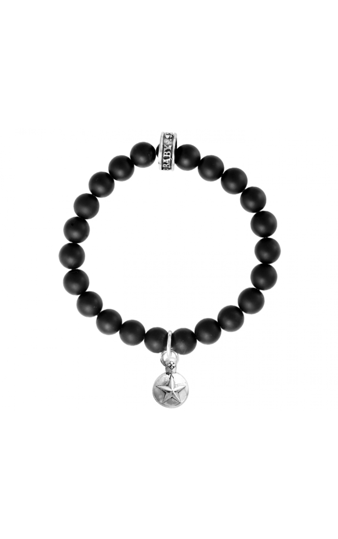 King-Baby-Jewellery-K40-5249-Black-Onyx-Bead-&-Silver-Star-Pendant-Bracelet-Boudi-UK