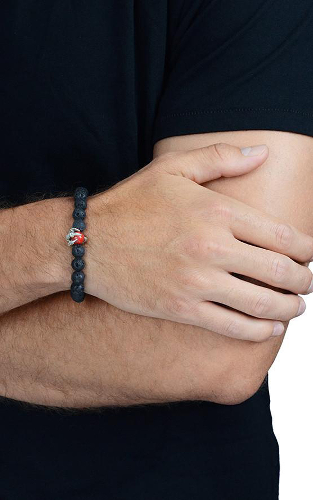 King Baby - Lava Rock Bracelet with Raven Claw Red Coral Bead (K40-5808)
