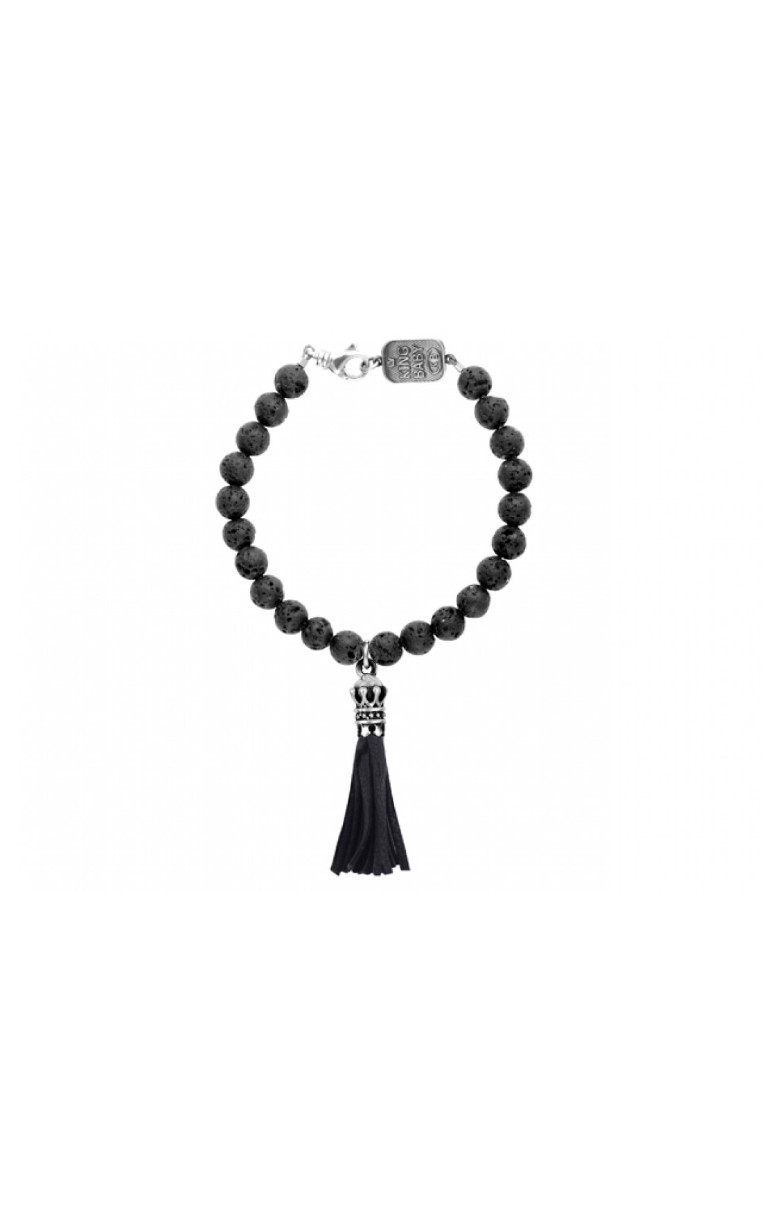 King Baby - 8mm Lava Rock Bead Bracelet With Crown Leather Tassel (K42-5172)