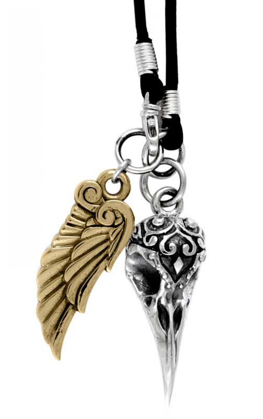 King Baby - Small Two Toned Raven Skull & Wing Pendant on Cord (K52-308B)