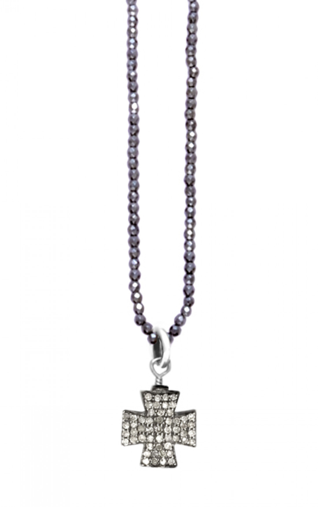 King Baby - Hematite Necklace With Pave Diamond Cross (K56-5111)