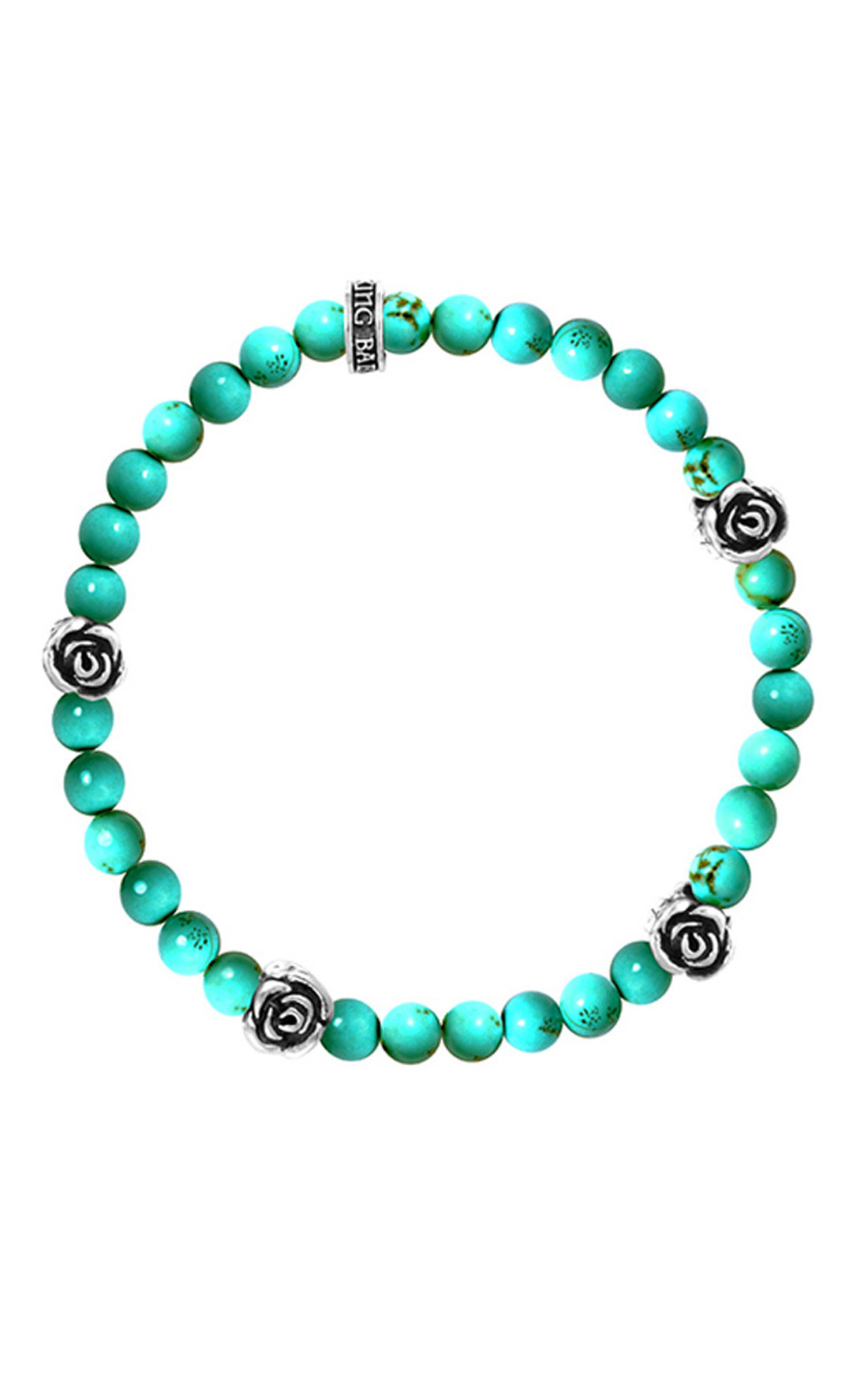 King Baby - 6MM Beaded Bracelet With 4 Silver Roses Turquoise (K40-5529-TUR)
