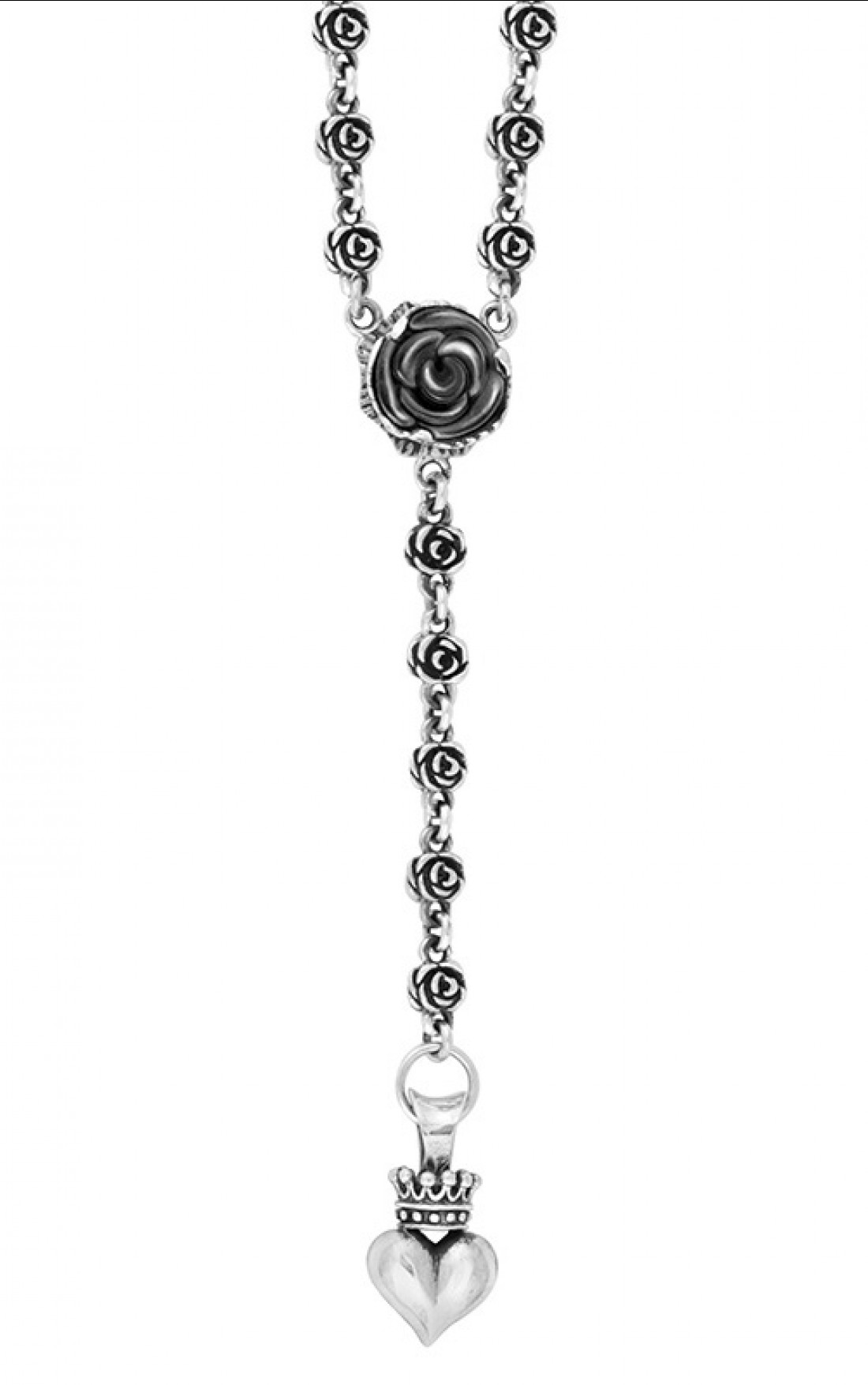 King Baby - Carved Jet Rose Rosary With Crowned Hearth Drop Necklace (K56-5117)