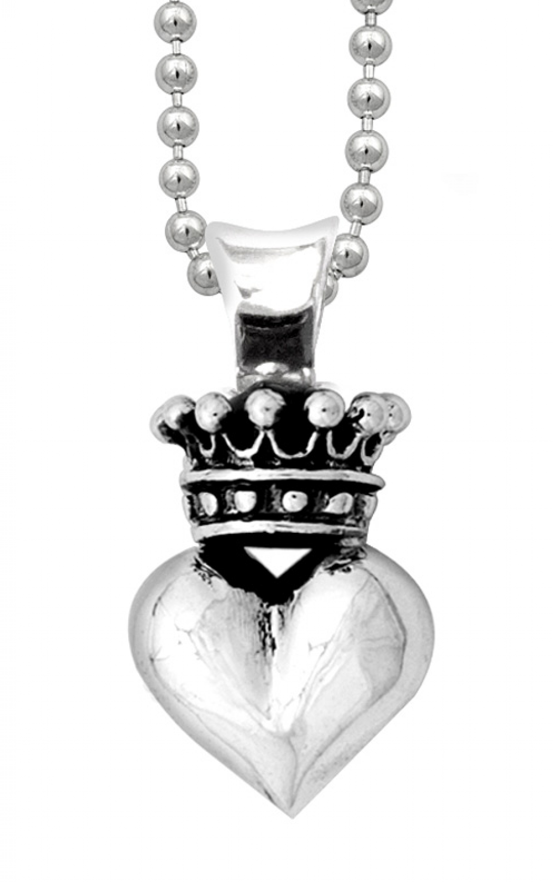 Queen-Baby-Jewellery-Q10-5071-Solid-Silver-3D-Crowned-Heart-Chain-Boudi-UK