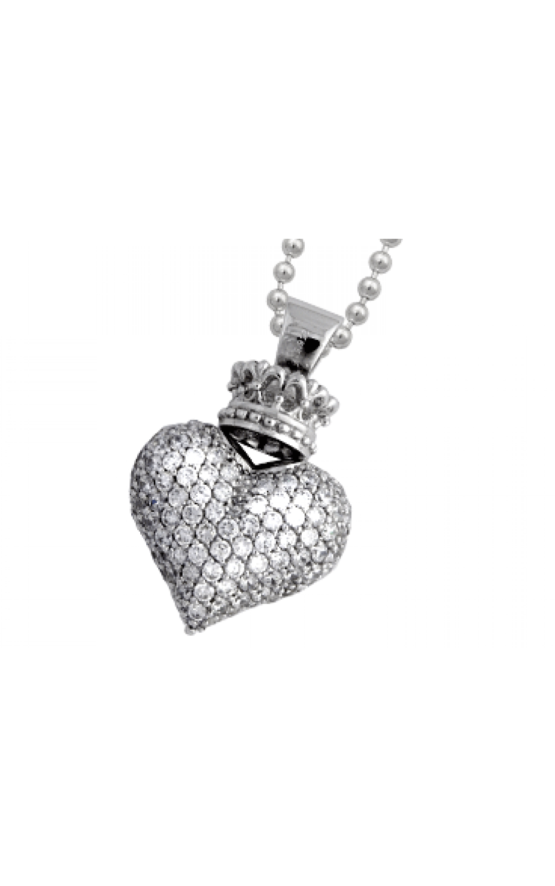 Queen-Baby-Jewellery-Q10-9072-Silver-3D-White-Crystal-Crowned-Heart-Chain-Boudi-UK